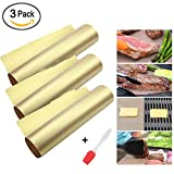 Julvie 3 Packs BBQ Grill Mat Non-Stick Baking Mat Reusable Roast Cover for Gas, Charcoal, Electric Grill Sheet for Party Outdoor
