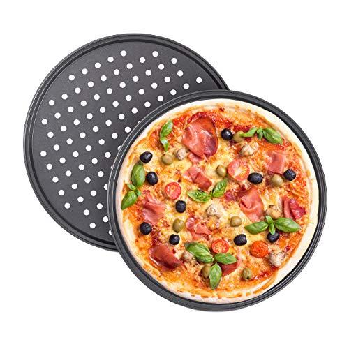 Relaxdays Pizzablek, set van 2, rond, geperforeerd, anti-aanbaklaag, pizza & flammkuchen, carbonstaal, kroonplaat…