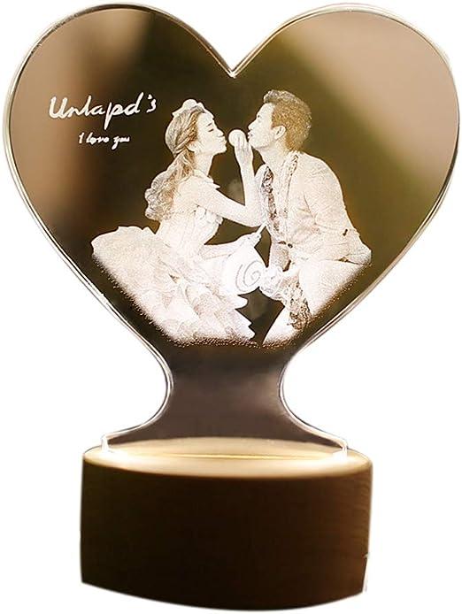 Anniversario Di Matrimonio Regalo Moglie.Foto Personalizzata Lampada 3d Cuore Tondo Notte Luce Miglior