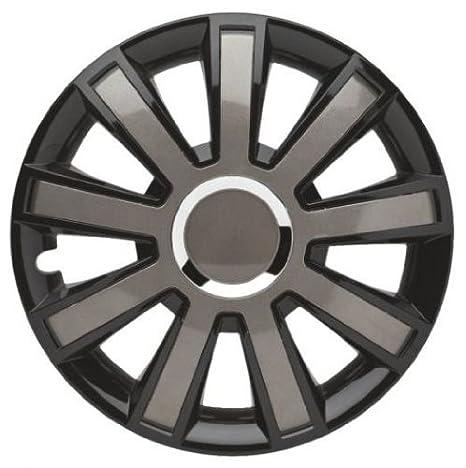 4 Tapacubos Tapacubos tipo flash VIII Negro/Gris para llantas de acero Citroen 15 pulgadas: Amazon.es: Coche y moto