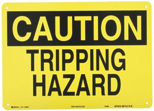 "UPC 754473256074, Brady 25607 Plastic Fall Protection Sign, 10"" X 14"", Legend ""Tripping Hazard"""