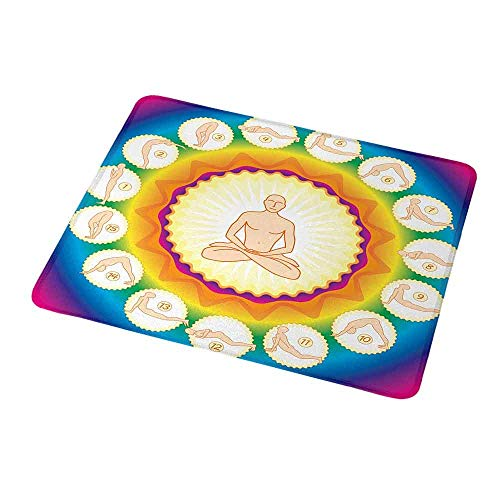 Mouse Pad Unique Custom Yoga,Yogi in The Lotus Posture and Exercises in Several Positions Surya Namaskar Vitality,Mousepad Great for Laptop,Computer 9.8