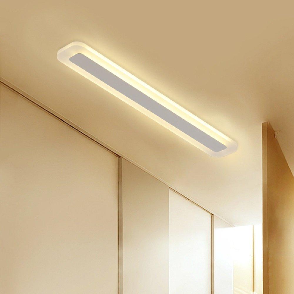 Aiwen LED Ceiling Lighting 30W Acrylic Ceiling Mount Lamp Rectangular PMMA High Transmittance Lampshade Flush Mount Ceiling Light Warm LED Source Light L 31.5inch W 3.5inch
