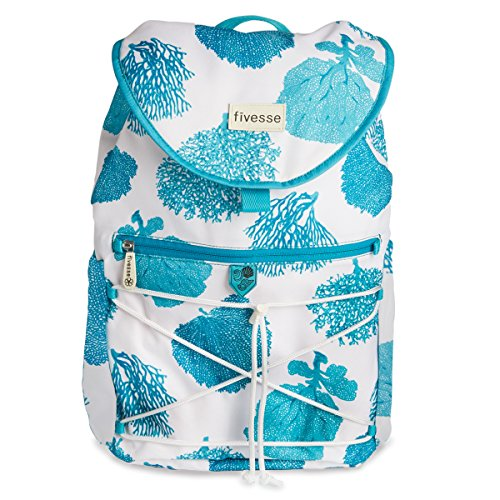 fivesse-water-resistant-beach-backpack-coral-pattern-and-custom-designed-protective-pockets