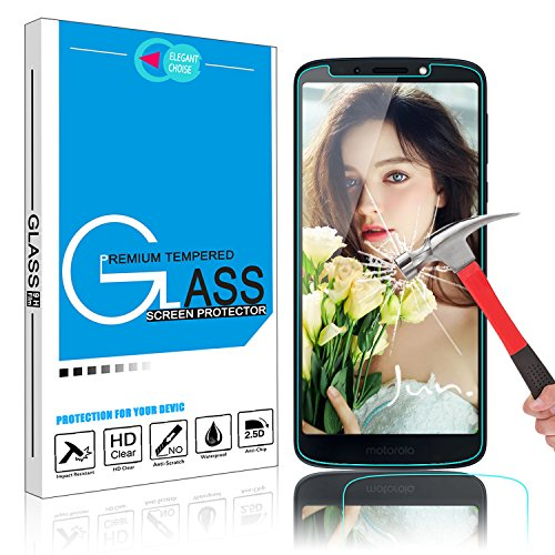 Moto E5 Screen Protector, Moto G6 Play Screen Protector, Elegant Choise 9H High Definition Anti-Fingerprint Bubble Free Scratch Resistant Tempered Glass Screen Protector(1 Pack)