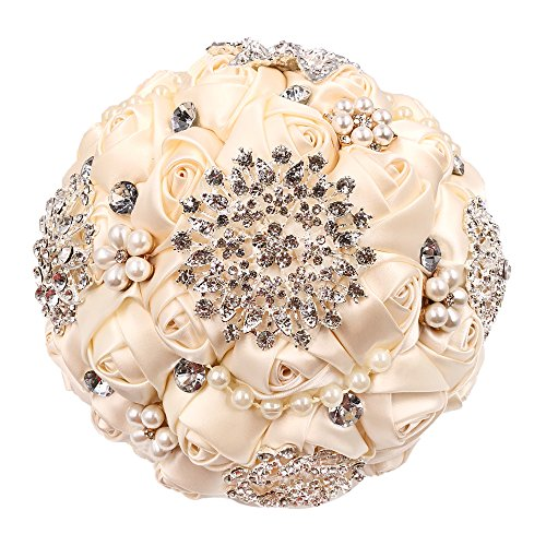 Abbie Home Advanced Customization Romantic Bride Wedding Holding Toss Bouquet Rose with Pearls and Rhinestone decorative brooches Accessories-Multi color selection (Rose Rhinestone Brooch)