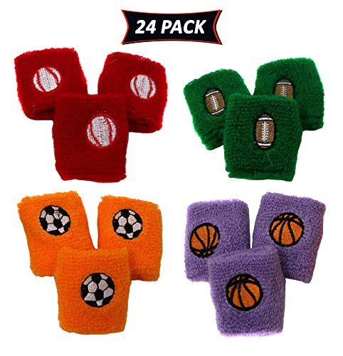 Sports Wristbands For Kids In Assorted Colors And Sports Designs Soccer, Basketball, Football, and Baseball - Sports Party Favor Pack Of 24