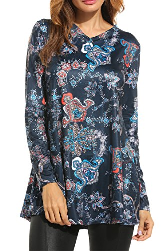 Meaneor Women Casual V-Neck Long Sleeve Print Loose Fit Blouse Tunic Tops, (Print Tunic Blouse)