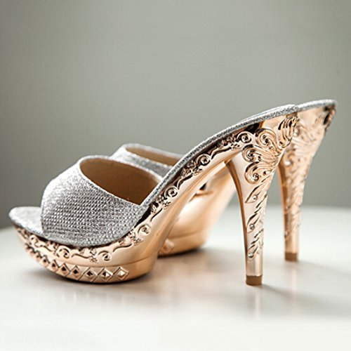Sandal Slipper Sandal Silver US5 Toe Black Dress PU Heel Slide 5 Open Women High Jiyaru ngCaaHx