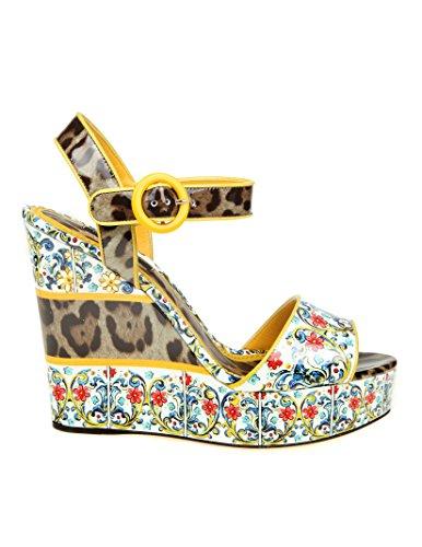 Cuir Compensées Gabbana E Chaussures CZ0042AS166HHI84 Dolce Multicolore Femme 8Xafwq