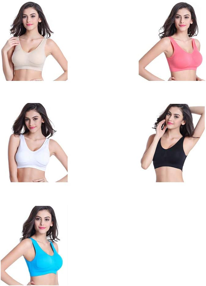 Women Sports Bras Padded Seamless High Impact Support Tops Stretchy Breathable Fitness Underwear for Yoga Gym Workout Fitness Skin Color Size L