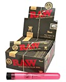 RAW Black Natural Unrefined King Size Slim Rolling Papers (50 Packs/Full Box) with Rolling Paper Depot XL Doob Tube