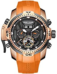 Reef Tiger Luminous Sport Watches Rubber Strap Rose Gold Complicated Mens Watches RGA3532 (RGA3532-PBBO)