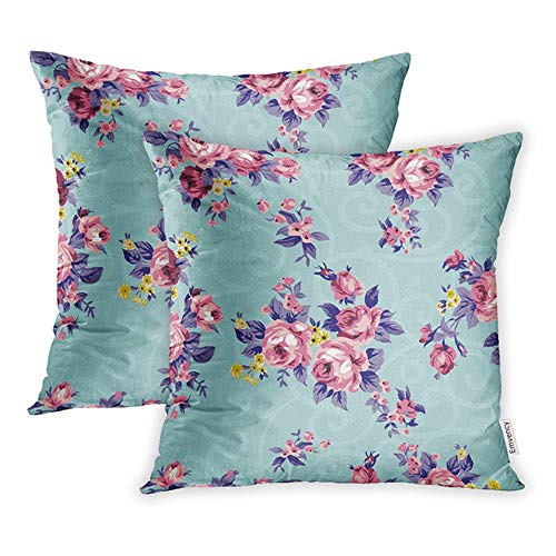 Emvency 16x16 Inch Decorative Set of 2 Throw Pillow Cover Shabby Chic Granny Vintage Chintz Roses in Seamlessly Pattern Raster Square Home Cushion Sofa Two Sides Pillow Case