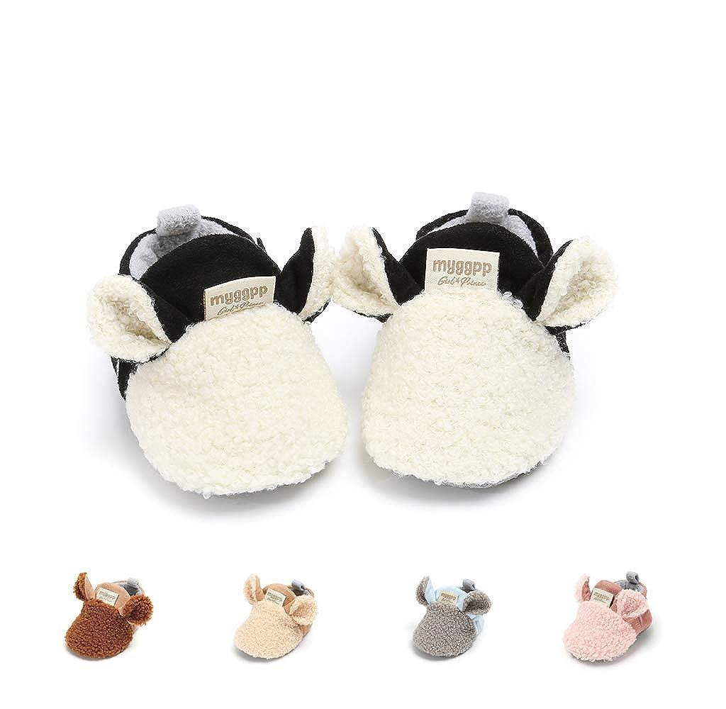 Baby Girl Boy Fleece Booties Newborn Cozy Warm Socks Winter Cotton Footwear Non-Slip Soft Sole Crib Shoes