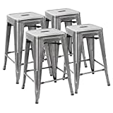 Devoko Tolix Style Metal Bar Stools 24'' Indoor Outdoor Stackable Barstools Modern Industrial Vintage Silver Counter Bar Stools Set of 4 (Silver)