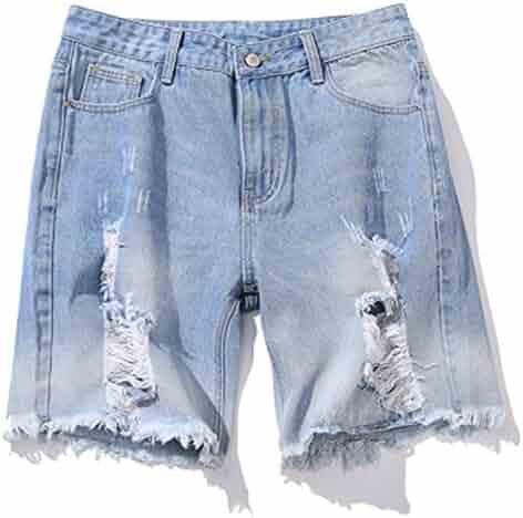 d8a4b37ef75c Pajamasea Summer Men s Cotton Blue Short Jeans Thin Breathable Straight  Denim Shorts Hole