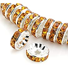 100pcs x 6mm Top Quality Rondelle Spacer beads (Topaz Yellow) Austrian Crystal, Sterling Silver Plated Copper Rhinestone Rondelle CF1-607