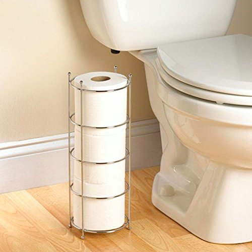 Toilet Paper Holder Floor Stand Storage Chrome Tissue Organizer Rack Bathroom