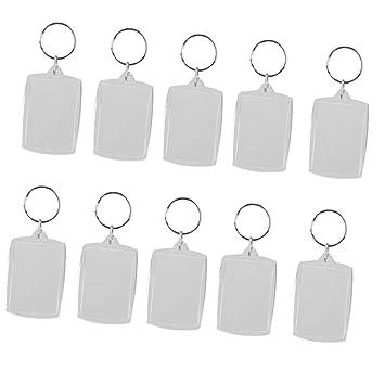 10 Stück Schlüsselanhänger Foto aus Acryl für bis zu zwei Fotos mit