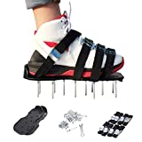 LianLe Lawn Aerator Shoes, 8 Straps Spiked Garden Lawn Aerator Shoes Aerating Soil Spiked Sandals Tool for Aerating Your Lawn or Yard (Black)