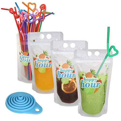 - 120 Pcs Zipper Plastic Pouches Drink Bags, Heavy Duty Hand-Held Translucent Frosted Reclosable Stand-up Bag 2.4