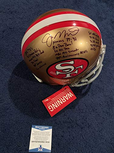 Joe Montana Autographed Signed Memorabilia San Francisco Niners 49 Stat Helmet 16 Inscriptions - Beckett - Joe Montana Helmet Signed