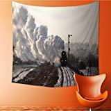 UHOO2018 Square Tapestry Vintage Steam Train st ing from The Station Wintertime Throw, Bed, Tapestry, or Yoga Blanket 32W x 32L Inch