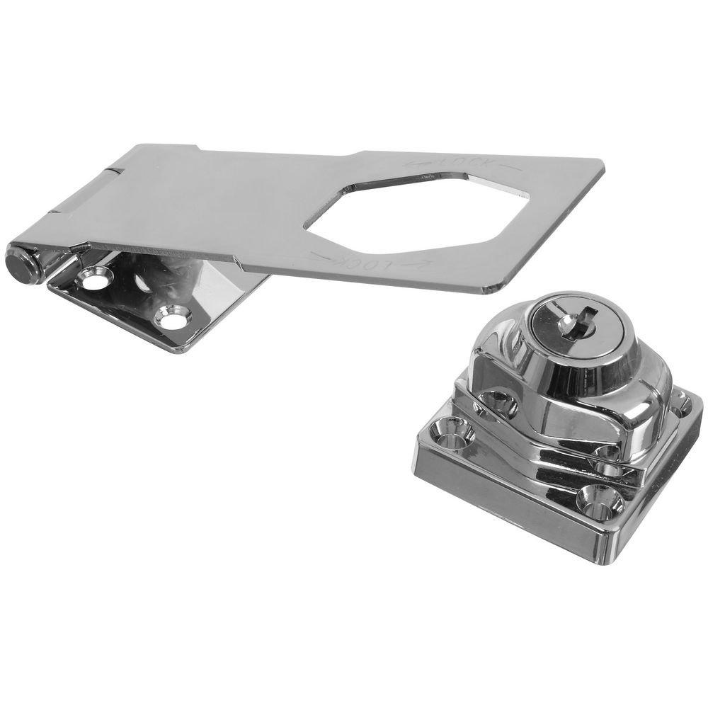 National Hardware N327-379 MPB827 Keyed Hasp Lock in Chrome