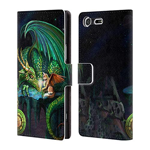 Official Rose Khan Green Time Dragons Leather Book Wallet Case Cover for Sony Xperia XZ Premium (Leather Dragon Green)