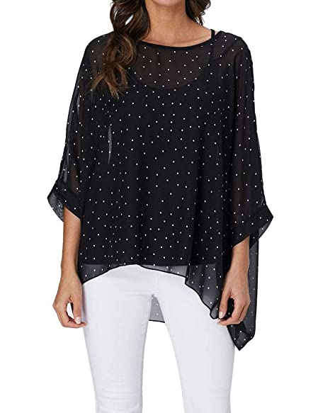 6f8b5a63c050b Rokou Women's Floral Blouse Loose Batwing Sleeve Beach Chiffon Poncho Tunic  Tops (Large, Color1