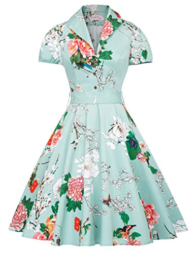 Vintage Dresses Women V-Neck A-Line Floral Flare Dress Retro S,BP161-2 (A-line Dress Vintage 1960s)