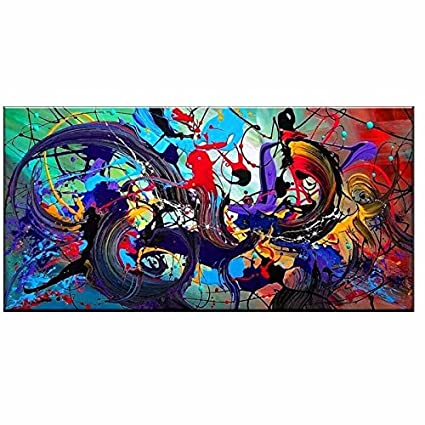 Orlco Art Hand Made Thick Modern Contemporary Huge Abstract Graffiti Colorful Texture Oil Painting Canvas Wall Art Decoration With Framed 24x48inch