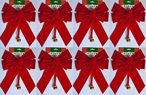 (Set of 8 Large Red Velvet Christmas Bows 10