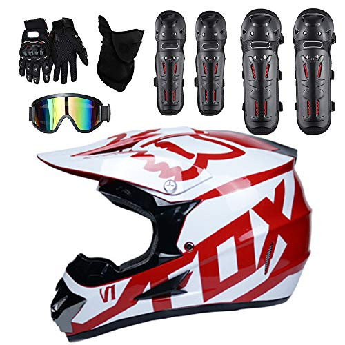 Moto Helmets Adult Outdoor Man Woman Full Face Motocross Off-Road Motorcycle Road Race ATV Helmet 5 Free Safety Suit Include Windproof Glasses Face Mask Elbow Pads Gloves Kneepad,L ()