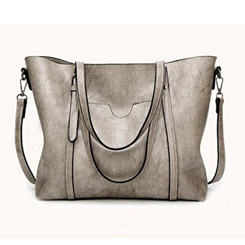 Luoluoluo artificiale tote tracolla Bag borsa benna crossbody Donna borsa Tracolla con borsa moda Grigio Borsa Messenger a pelle casual in cerniera borsa rxrqwf4XC