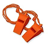 20 Pack Safety Plastic Whistle with Lanyard Orange/Yellow