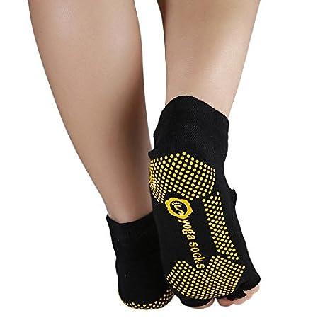Calcetines para pilates de yoga, resistentes, con media punta, agarre en el tobillo, antideslizante, para cinco dedos, 1 par: Amazon.es: Bricolaje y ...