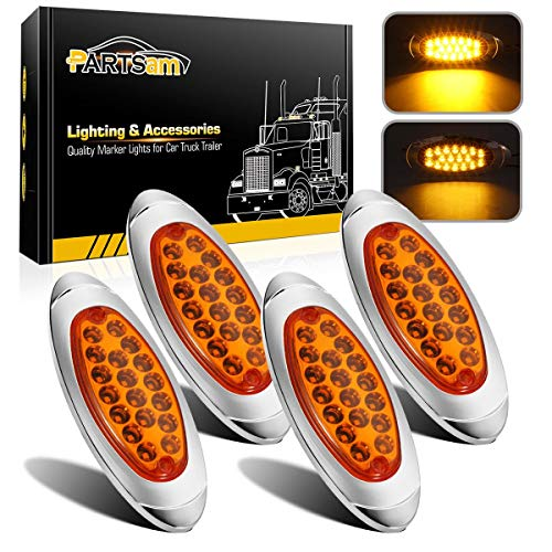 "Partsam 4 Pcs 6-3/5"" Amber Oval Led Trailer Side Marker Lights Chrome Bezel, 18-3528-SMD Aux Trailer Parking and Turn Signal Lights, Trailer Tail Lights, Led Cab Marker Running Lights"
