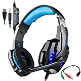 Gaming Headset for PlayStation 4 Tablet PC Mobilephones iPhone 6/6s/6 plus/5s/5c/5, KOTION EACH G9000 3.5mm Over-Ear Headphone with Microphone Volume Control LED Light from YSSHUI