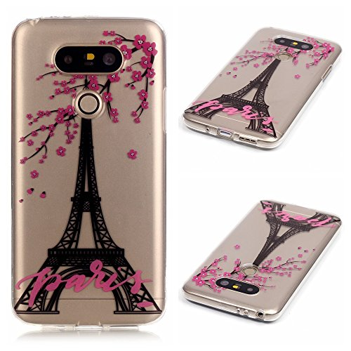 LG G5 Case Clear, Bright Slim Fit Transparent Soft Rubber TPU Gel Silicone Case Protective Cover Skin for LG G5 (Paris Flower)