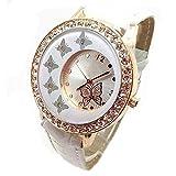 Sannysis New Women Ladies Butterfly Pattern Crystal Quartz Wrist Watch White