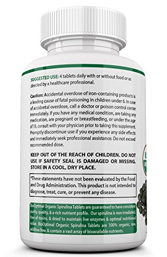 BioOptimal-Organic-Spirulina-100-USDA-Organic-Spirulina-Tablets-Premium-Quality-Non-GMO-120-Count-Certified-Organic-Easy-to-Swallow-No-Capsules-or-Fillers-Vegan-Superfood
