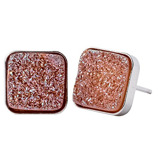 YACQ Jewelry 925 Sterling Silver Agate Druzy Handcrafted Stud Earrings for Women (Square J)