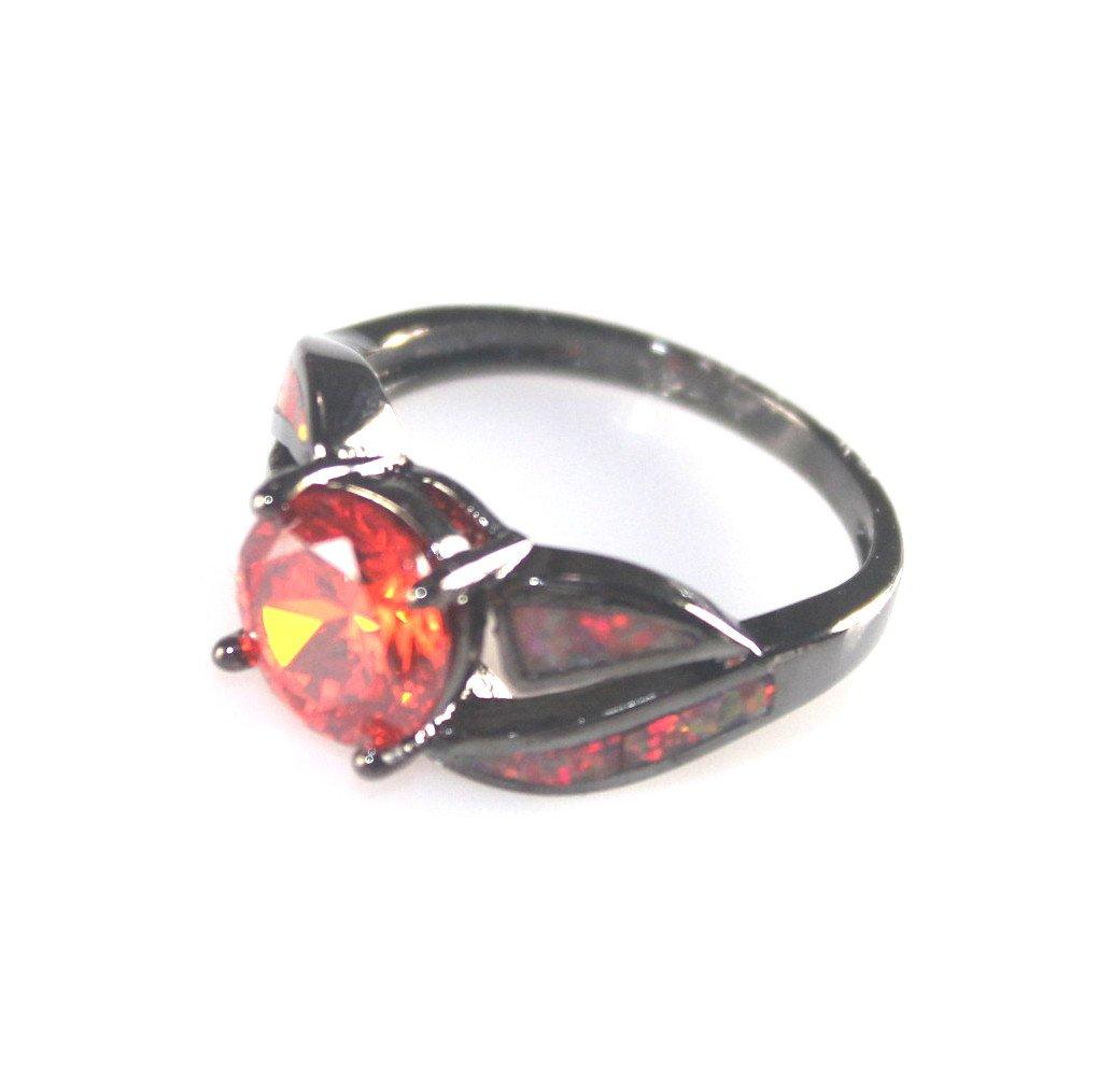 SilverstoneTX Black SILVER Elegant Orange Fire Opal & Orange Red Garnet Ring Size 7