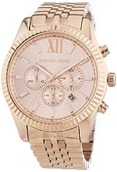 Michael Kors Lexington Chronograph Rose Dial Rose Gold-plated Mens Watch MK8319