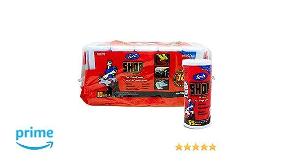 Scott Shop 10 Paquetes de 55 Toallas por Rollo, tamaño de Hoja de 11 x 10.4 Pulgadas, Absorbe líquidos, aceites y Grasa: Amazon.es: Hogar