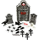 "Halloween Haunters 24 Piece Scary Graveyard Tombstone & Skull Prop Decoration Kit Set - 22"" RIP Grave Light-Up Eyes - Rats, Spiders, Crows, Roses"