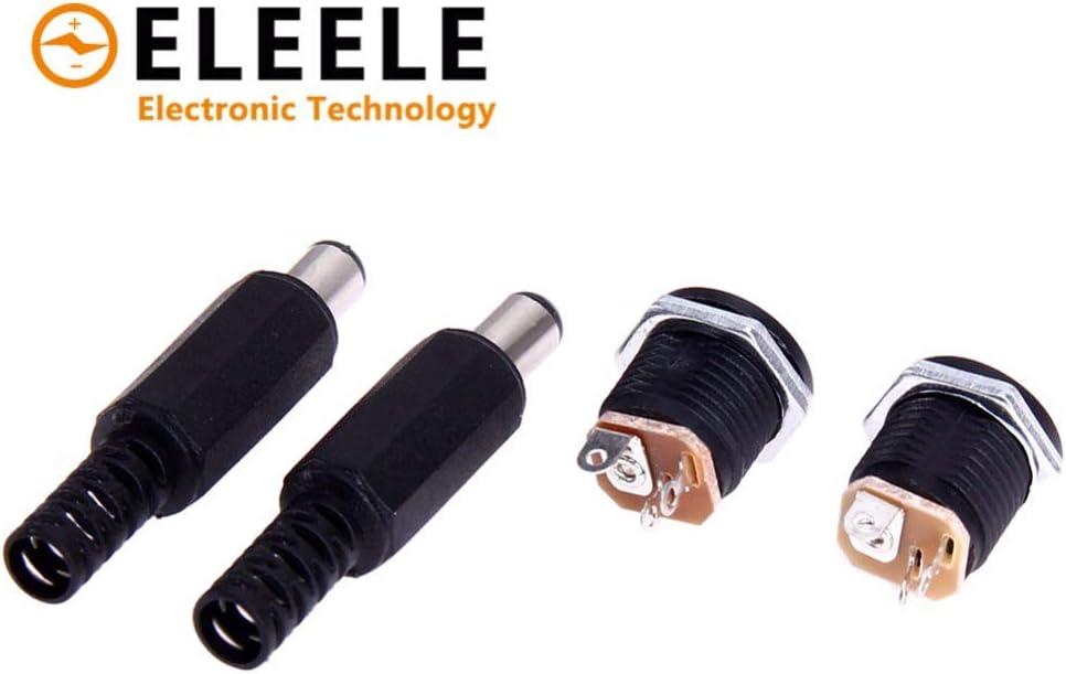 Color: Black Female Socket Panel Mount Jack DC Connector Adapter 12V//3A PN35 Gimax 1 Pairs 2.1mm x 5.5mm Male Plug