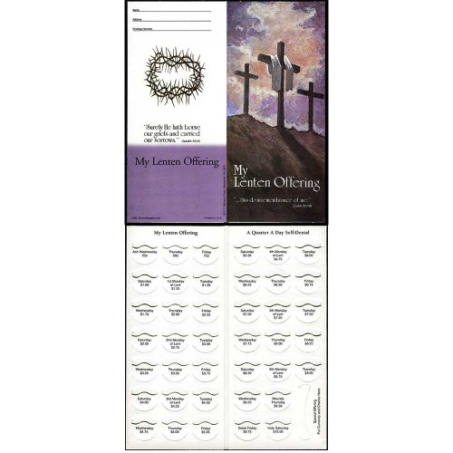 Coin Lenten Folders - Sterling Gifts Lent Crosses Coin Semi-dated Quarter Coin Folders for Church Organizations Fundraising Holds $10.00 - Package of 50 Folders